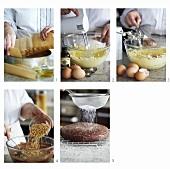 Making chocolate and hazelnut cake
