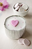 Cupcake with heart for Valentine's Day