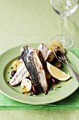 Fried mackerel fillets with potatoes