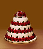 Three-tier wedding cake with roses