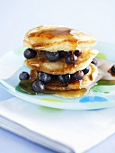 Blueberry pancakes with honey