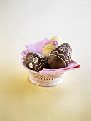 Chocolate Easter eggs in a small basket