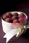 Chocolate truffles in elegant packaging