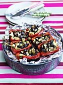 Red peppers stuffed with olives