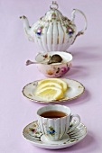 Tea in antique china teaset