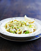 Ribbon pasta with leeks and cheese