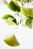 Pieces of lime in water