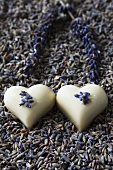 Heart-shaped white chocolates with lavender flowers