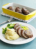 Beef roulades with olive stuffing and mashed potato