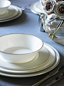 Festive place-setting with soup bowl