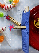 Christmas place-setting with sweets