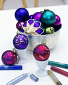 Christmas baubles with coloured pens