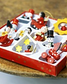 Assorted wooden Christmas tree ornaments