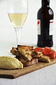 Toast, cod spread and wine (Spain)