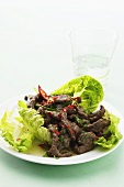 Romaine lettuce with beef and chilli