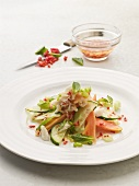 Papaya and cucumber salad with crabmeat and chilli dressing