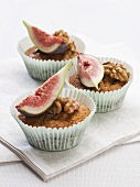 Ginger cupcakes with walnuts and figs