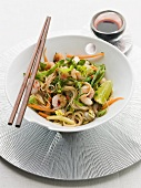 Noodle, prawn and vegetable salad with mint