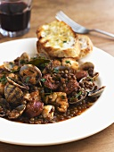 Lentil stew with shellfish and chorizo