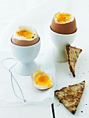 Two boiled eggs with toast triangles