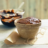 Chocolate pudding in pudding basin