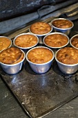 Several sponge puddings in pudding basins