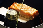 Gravlax in puff pastry with spinach timbale and sherry cream