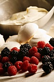 Ingredients for Eton Mess (berries, meringue and cream, England)