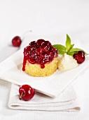 Sponge pudding with cherries