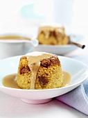 Sponge pudding with custard (UK)