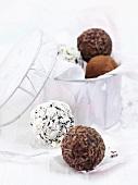 Assorted chocolate truffles for Christmas