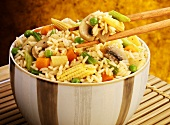 Rice with mushrooms, vegetables and sweetcorn (oriental-style)