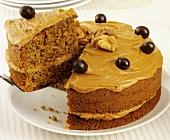 Walmut and coffee cake, sliced