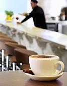 A cappuccino in a restaurant