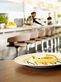 A lemon tart in a restaurant