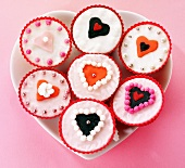 Fairy cakes decorated with hearts