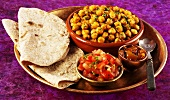 Channa masala (chickpea curry from India) with chapatis