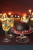 Christmas pudding with dessert wine