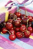 Cherries in a fabric basket