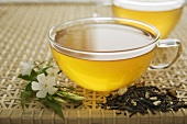 Jasmine tea in glass cup