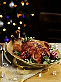 Bacon-wrapped turkey for Christmas dinner