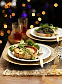Tartlet with goat's cheese and pesto for Christmas dinner