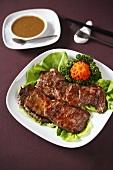 Steaks with saté sauce