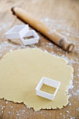 Biscuit dough and a square cutter
