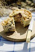 Chicken and ham pie for a picnic