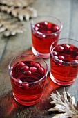 Drei Gläser Cranberry-Apfel-Punsch