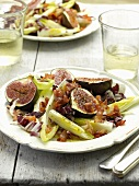 Chicory salad with Pancetta and grilled figs with a honey marinade