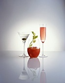 Three cocktails: Martini, Bloody Mary and Kir Royal