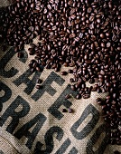 Roasted coffee beans from Brazil on a jute sack