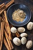 Nutmegs and cinnamon sticks
